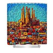 Barcelona Abstract Cityscape - Sagrada Familia Shower Curtain