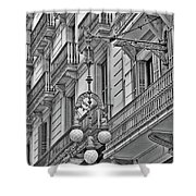 Barcelona Balconies In Black And White  Shower Curtain