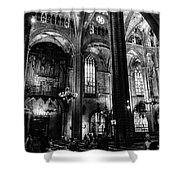 Barcelona Cathedral Interior Bw Shower Curtain