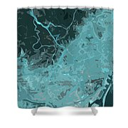 Barcelona Traffic Abstract Blue Map Shower Curtain