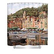 barche a Portofino Shower Curtain