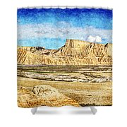 Bardenas Desert Panorama 3 - Vintage Version Shower Curtain