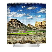 Bardenas Desert Panorama 4 - Vintage Version Shower Curtain