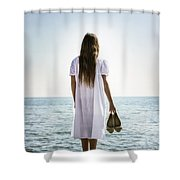 Barefoot At The Sea Shower Curtain