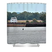 Barge On Tennessee River At Shiloh National Military Park Shower Curtain