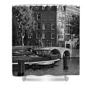 Barges By The Bridge Shower Curtain