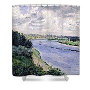 Barges On The Seine Shower Curtain