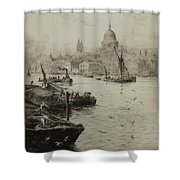 Barges On The South Bank Shower Curtain