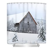 Barn After Snow Shower Curtain
