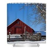 Barn And Blue Sky Shower Curtain