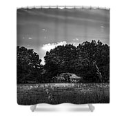Barn And Palmetto-bw Shower Curtain