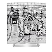 Barn And Sheep Shower Curtain