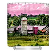 Barn And Silo With Infrared Touch Of Pink Effect Shower Curtain