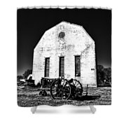 Barn And Tractor In Black And White Shower Curtain