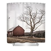 barn and tree - New York State Shower Curtain