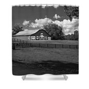 Barn At Yonah Mountain In Black And White 4 Shower Curtain