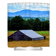 Barn Below Trees And Mountains Shower Curtain