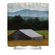 Barn Below Trees And Mountains In Artistic Version Shower Curtain