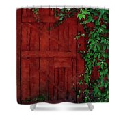 Barn Door With Ivy Shower Curtain