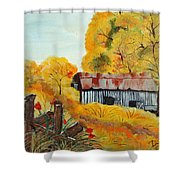 Barn In Autumn Shower Curtain
