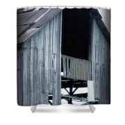 Barn In Blue Shower Curtain