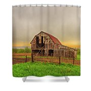 Barn In The Cloudy Sky Shower Curtain