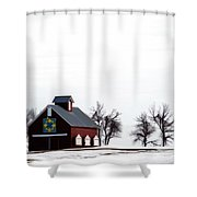 Barn In The Snow Shower Curtain