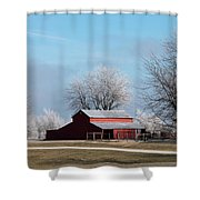 Barn On Frosty Morn Shower Curtain