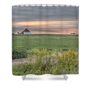 Barn On The Horizon  Shower Curtain