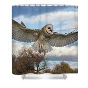 Barn Owl Makes A Happy Landing Shower Curtain