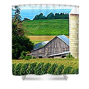 Barn Silo And Crops In Nys Expressionistic Effect Shower Curtain