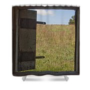 Barn Window View Shower Curtain
