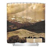 Barn With A Rocky Mountain View In Sepia Shower Curtain