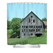 Barn With Chickens In Window Shower Curtain