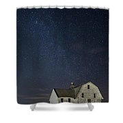 Barn With Milky Way Shower Curtain