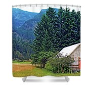 Barn With Red Door Shower Curtain