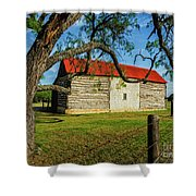 Barn With Red Metal Roof Shower Curtain