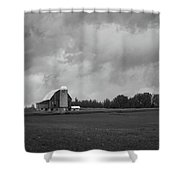 Barn With Storm Clouds Shower Curtain