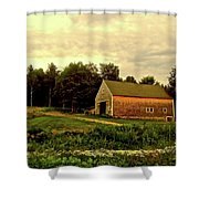 Barn With Wildflowers Shower Curtain