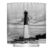 Barnegat Lighthouse In Black And White Shower Curtain