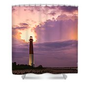 Barnegat Lighthouse Stormy Sunset Shower Curtain