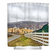 Barns And Mountains Shower Curtain