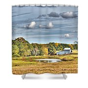 Barns And Pond On A Fall Day Shower Curtain