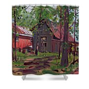 Barns In April Shower Curtain