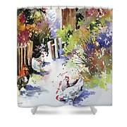 Barnyard Gathering Shower Curtain