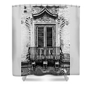 Baroque Balcony Window. Messina, Sicily.    Black And White Shower Curtain