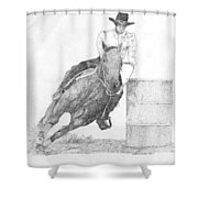 Barrel Racer Shower Curtain by Lucien Van Oosten