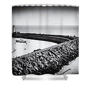 Barry Island Breakwater Film Noir Shower Curtain