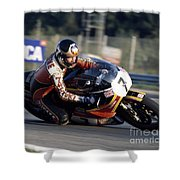 Barry Sheene. 1978 Nations Motorcycle Grand Prix Shower Curtain