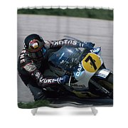 Barry Sheene. 1984 Nations Motorcycle Grand Prix Shower Curtain